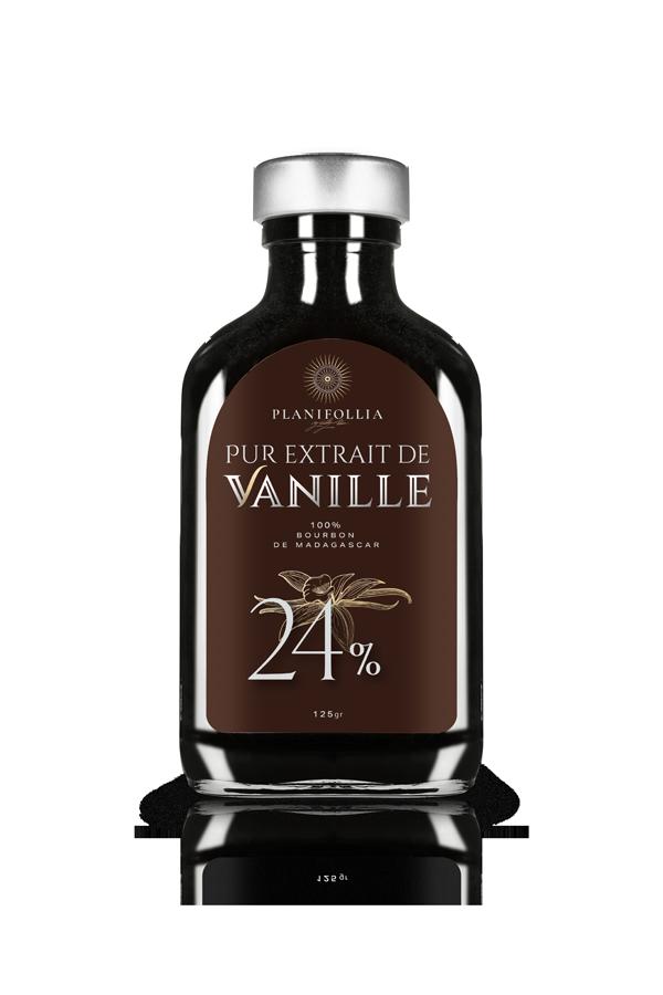 בקבוק תמצית וניל טהורה 120 גרם 24 אחוז של חברת פלאניפוליה