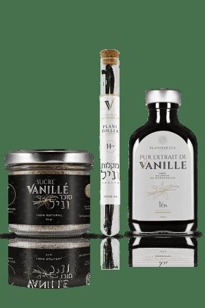 """מארז מוצרי """"היכרות"""" פלאניפוליה הכולל 3 מוצרי איכות: תמצית וניל 16% 2 מקלות וניל בורבון 14 ס""""מ סוכר וניל אמיתי 80 גרם"""